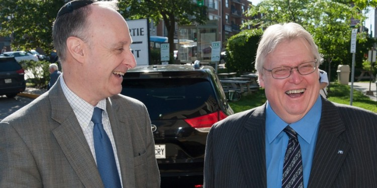Dr. Gaétan Barrette (right) is welcomed to the JGH by Dr. Lawrence Rosenberg.