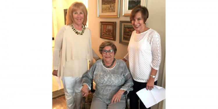 The Auxiliary kicked off its 80th-anniversary celebrations on August 18 with a luncheon hosted by Bina Ellen (seated) at her home. Joining her were Auxiliary Co-Presidents Reisa Lerner (left) and Beatrice Lewis.