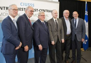 Attending the news conference were (from left) David Birnbaum, MNA for D'Arcy McGee; Pierre Arcand; Dr. Gaétan Barrette; Dr. Lawrence Rosenberg; Alan Maislin, President of the Board of Directors of CIUSSS West-Central Montreal; and Edward Wiltzer, Chair of the JGH Foundation.