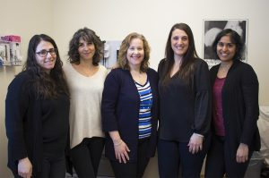 Staff of the Herzl-Goldfarb Breastfeeding Clinic (from left): Dr. Meira Stern, Medical Co-Director; Karene Valladeau, Lactation Consultant; Lydia Marcus, Senior Lactation Consultant; Triantafylli (Rose) Panagopoulos, Clinic Coordinator; and Dr. Anjana Srinivasan, Medical Co-Director.