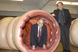 Mixing playfulness with a strong desire to educate, Dr. Philip Gordon (left) brought the Colossal Colon to the JGH in 2005. This travelling exhibition used a gigantic, walk-through reproduction of a colon to raise awareness about colon cancer. Joining him was James Alexander, President of the JGH Board of Directors.