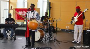 Dakan, an African quartet that includes JGH orderly Madou Diarra (second from left) performed Malian music with a modern twist at the 19th annual JGH Jazz Festival.