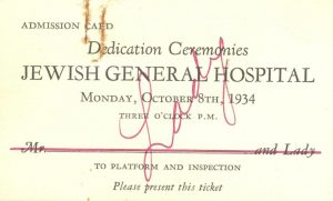 Special admission card that was issued to dignitaries seated on the main platform at the ceremony to open the JGH.