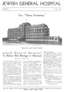 Cover of an eight-page fund raising magazine, published in July 1932 to promote financial support for the JGH, which was then under constuction.