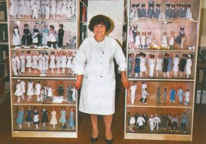 Ossana Zeitounian in 1988 with the full array of dolls.