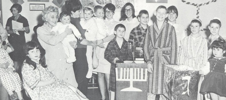 Chanukah celebration for children in the hospital in the 1950s.