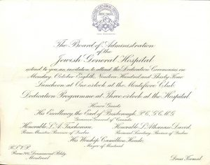 Invitation to the 1934 ceremony to launch the JGH.