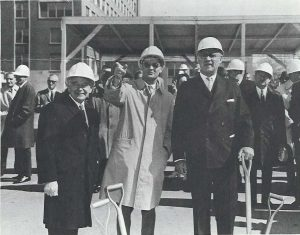 Among those present for the groundbreaking of the Lady Davis Institute on April 16, 1968, were (from left) JGH President Sam Steinberg; Dr. Norman Kalant, Director of the LDI; and Bernard Bloomfield, President of the LDI's Board of Directors.