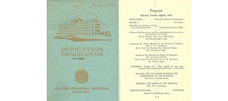 Cover and agenda page from the commemorative program booklet that was distributed at the ceremony to open the JGH on October 8, 1934.