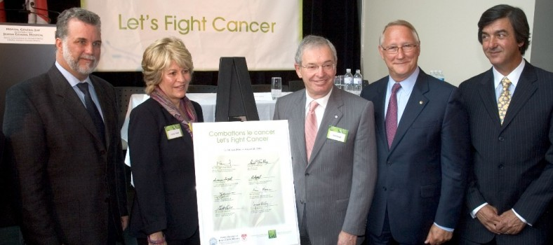 At a 2006 press conference to inaugurate the Segal Cancer Centre, among those who signed a declaration to support the battle against cancer were (from left) Philippe Couillard, Minister of Health and Social Services; Leanor Segal; philanthropist Alvin Segal; Gérald Tremblay, Mayor of Montreal; and Henri Elbaz, JGH Executive Director.