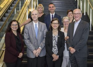 Joining Danielle McCann (front row, centre) on her tour of the JGH are (front row, from left) XX (title), Dr. Lawrence Rosenberg, Francine Dupuis and Alan Maislin, and (rear row, from left) Dr. Louise Miner, Dan Gabay (Associate Executive Director), and Lucie Tremblay.
