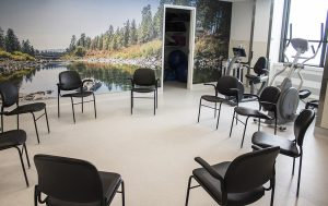 Exercise and meeting room in the newly renovated space of the Adult Psychiatry Day Treatment Program on the sixth floor of Pavilion B.