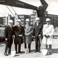 In 1968, ground is broken to start construction of the ICFP. Leading the ceremony are (from left) Samuel Steinberg, President of the JGH Board of Directors; Dr. William Slatkoff, JGH Executive Director; Allan Bronfman, founding President of the Board of Directors; Bernard Bloomfield, community leader and philanthropist; and Dr. Henry Kravitz, Chief of the Department of Psychiatry.