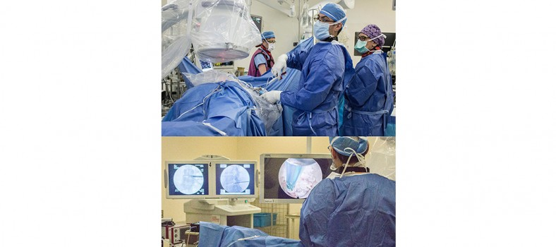 Composite photo of Dr. Jeff Golan performing a spinal endoscopy. Above, he manipulates an ultra-thin surgical tool that has been inserted through a very narrow metal tube into the patient's spine. Below, Dr. Golan watches a pair of screens that show two x ray views of the spine (at left and centre) and real-time video of the impact of his tiny tool on spinal tissue.