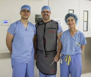 The surgical team (from left): Dr. Jeff Golan, JGH Chief of Neurosurgery; Marc Joannette, distributor of the spinal endoscopy instruments; and Nurse Athena Baum, Team Leader in Neurosurgery.