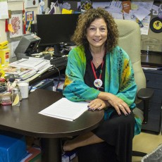Dietitian Sondra Edelstein Sherman at her desk in the JGH Division of Endocrinology