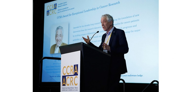 Dr. Gerald Batist at the awards ceremony of the Canadian Cancer Research Alliance.