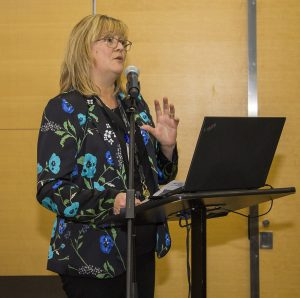 Chantal Bellerose, Coordinator of Quality, Risk Management, Accreditation, Clinical Ethics and the User Experience, discussed the CIUSSS's involvement in the Planetree approach to care.