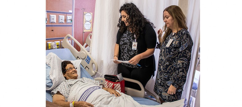 After surgery, Giovannina Agostinelli receives information about her medications from Pharmacist Dana Wazzan (left) and Emanuela Ciarlelli, Head Nurse on 8West.