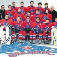 Rear (from left): Noah Laliberté, Michael O'Rourke-Thomassin, Zachary Wolf, Anthony Calderone and Matthew Guay. Middle (from left): Head Coach Angelo Calderone, Manager Brad Wolf, Logan Carr, John Vaccaro, Matthew Theodore, Anthony McCall, Connor Lovell, and coaches Alan Lovell and Louis Cavaliere. Front (from left): Benjamin Adler, Jonny McCall, Nicholas Sanche, Aris Zimakas, Matteo Cavaliere and Michael Cooper.