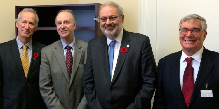 Dr. Lawrence Rosenberg (second from left) and JGH board member Brahm Gelfand (right) were welcomed to the National Assembly last November by Pierre Arcand (second from right) and David Birnbaum, the Member for D'Arcy-McGee.