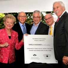 Sheila Kussner (second from left) accepts her plaque of honour from (from left) Suzanne O'Brien, Executive Director of Hope & Cope; Howard Dermer, Chair of the JGH Foundation; Dr. Gerald Batist, JGH Chief of Oncology and Director of the Segal Cancer Centre; Myer Bick, President and CEO of the JGH Foundation, and JGH Past President Allen F. Rubin.