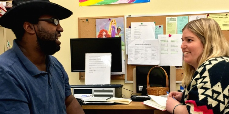 Christopher Lee, who lives in a supervised apartment that is part of the residential services at the Miriram Home and Services, meets with his educator, Leanne Fiddler, to benefits from the work integration program. The Miriam Home is in the new CIUSSS that includes the JGH.
