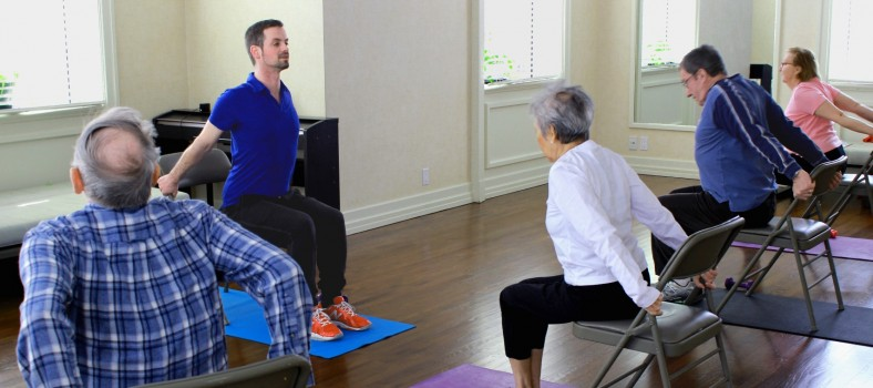At the JGH Hope & Cope Wellness Centre, volunteer kinesiologist Martin Côté Couillard leads an exercise session of the 70+ Club with (from left) Marcel Desrosiers, Lolita Matheson, Marcel Beauchemin and Pierrette Lamothe.