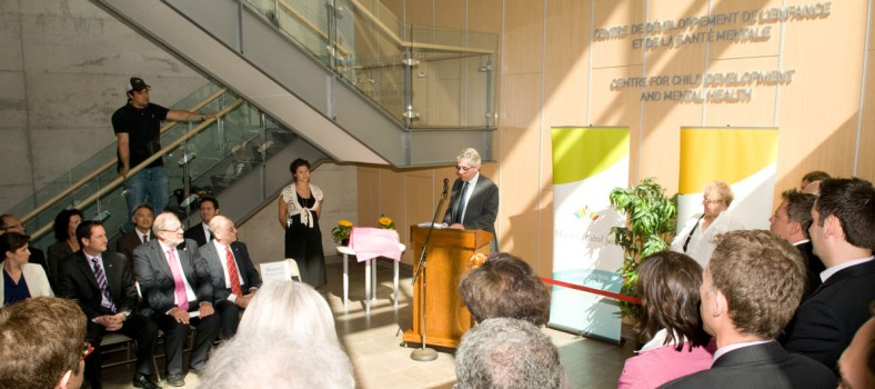 In 2010, JGH Executive Director Hartley Stern speaks at the inauguration of the Ruth and Saul Kaplan Pavilion, new home of the Centre for Child Development and Mental Health.