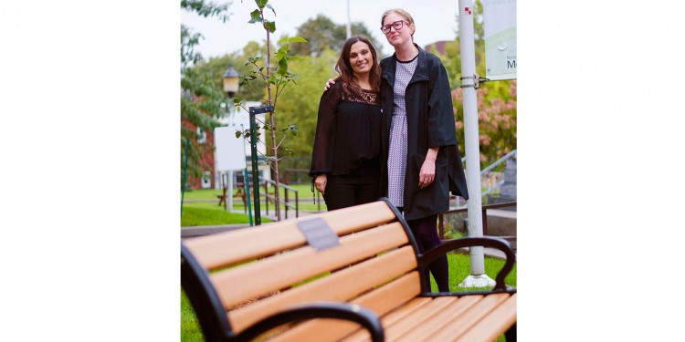Social Worker Louna Kadoch (left) and Nurse Nadine Fava, Co-Chairs of the Perinatal Loss Committee, attend a ceremony on October 15 where a sapling and a bench were dedicated in memory of losses, whether in utero or after delivery, at the JGH. (Photo by Hanna Bumagin)