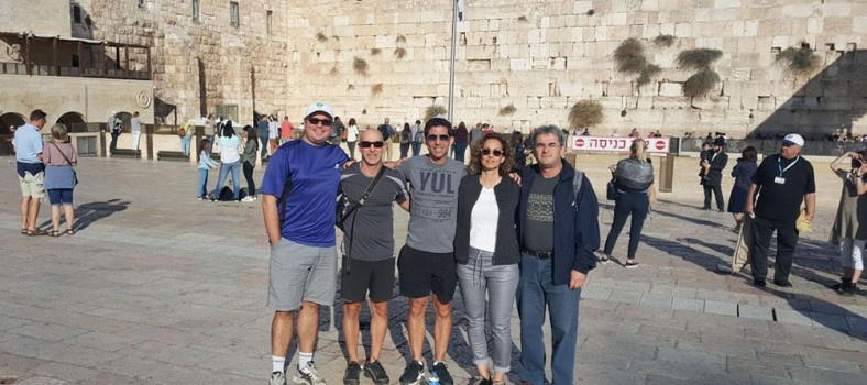 During a trip to Israel to meet with former JGH fellows in head and neck surgical oncology, Dr. Alex Mlynarek (left), Dr. Michael Hier (second from left) and Dr. Richard Payne (centre) of the JGH visited the Western Wall in Jerusalem with Dr. Limor Muallem-Kalmovitch, a former fellow, and her husband, Dr. Boaz Kalmovitch, a trauma surgeon.