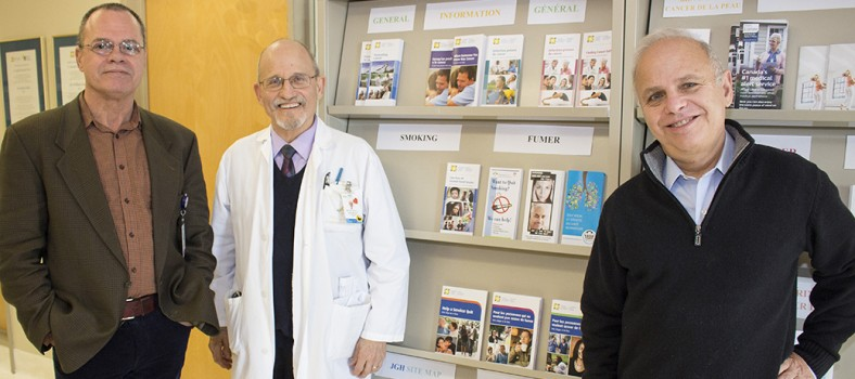 In the JGH Cancer Prevention Centre, Dr. Michael Dworkind (centre), Director of the Smoking Cessation Program, meets with Centre's Director, Dr. Michael Pollak (right), and with Smoking Cessation Counsellor Joseph Erban.