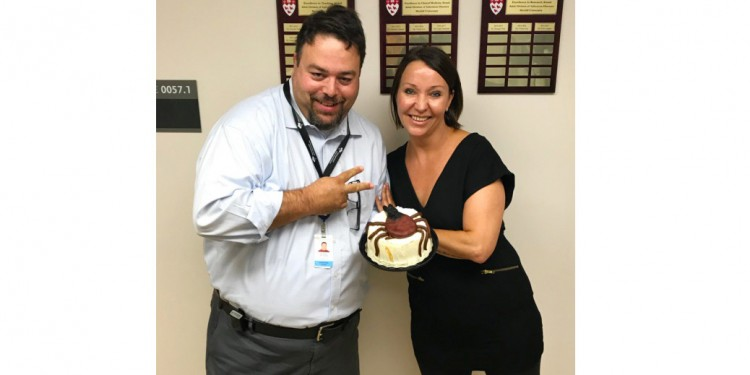 Erica Feininger baked a cake topped with a tick made of marzipan to thank Dr. Marty Teltscher for treating her Lyme disease at the JGH.