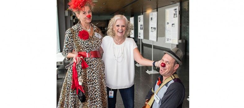 Nancy Rubin, Director of the JGH Auxiliary, with members of Dr. Clown, Zoé (Michele Sirois) and Frankie (Jean-François Leblanc). The Auxiliary raises funds that enable patients and staff to enjoy the troupe's therapeutic humour on a weekly basis.