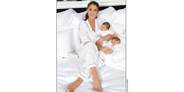 Céline Dion et ses jumeaux, Nelson et Eddy, nés le 23 octobre 2010.