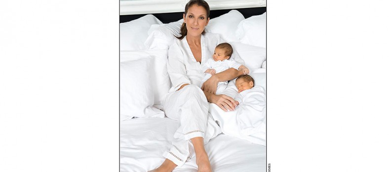 Celine Dion with her twins, Nelson and Eddy, born October 23, 2010.