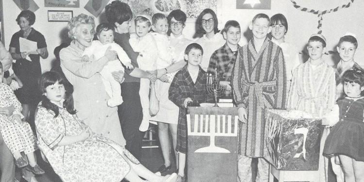 Chanukah celebration for children in the hospital in the 1950s.