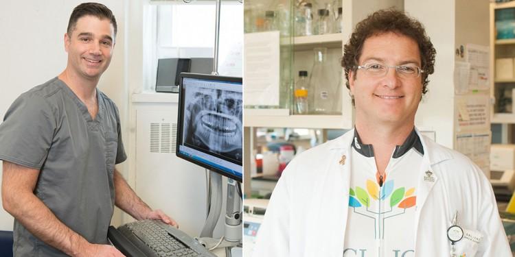 Deux « diplômés » du programme d'Introduction des élèves aux activités hospitalières des Auxiliaires de l'HGJ, le Dr Allan Lisbona (à gauche) et le Dr Jamie Rappaport, ont entamé une carrière en médecine et occupent maintenant des postes de cadre à l'HGJ.