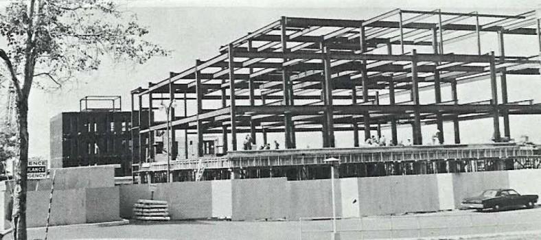 À l'automne 1968, la construction de la charpente de l'Institut Lady Davis allait bon train, si bien qu'il ouvrirait dans les délais l'année suivante. Était également en construction à l'époque l'Institut de psychiatrie communautaire et familiale (au fond à gauche), qui a été inauguré en 1969.
