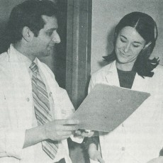 In 1972, Dr. Joseph Portnoy and Nurse Linda Cohen discuss the hospital's new Social Diseases Clinic.