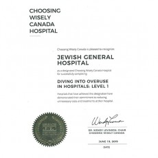 Certificate designating the JGH as a Choosing Wisely Canada hospital.