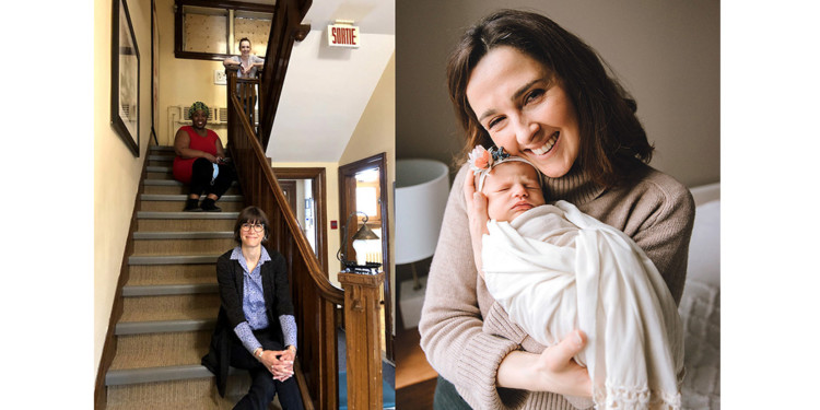 Shortly after Nicole-Ann Shery (right) gave birth to Kayla on March 3, the COVID-19 lockdown began. She used telehealth to stay in touch with her midwife, Kathleen McDonald (top of staircase), who is shown in the Côte-des-Neiges Birthing Centre with midwife Yvette Munezero (centre) and Maëcha Nault, Head of Midwife Services. (Photo at right courtesy of Reina Price.)