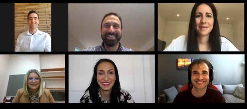Les membres de l'équipe de Santé numérique se réunissent en ligne pour une vidéoconférence. En haut, de gauche à droite : Michael Shulha, le Dr Justin Cross et Sabine Cohen. En bas, de gauche droite : Danina Kapetanovic, Anna D'Ambra et William Laurin (du Centre de support, télésanté).