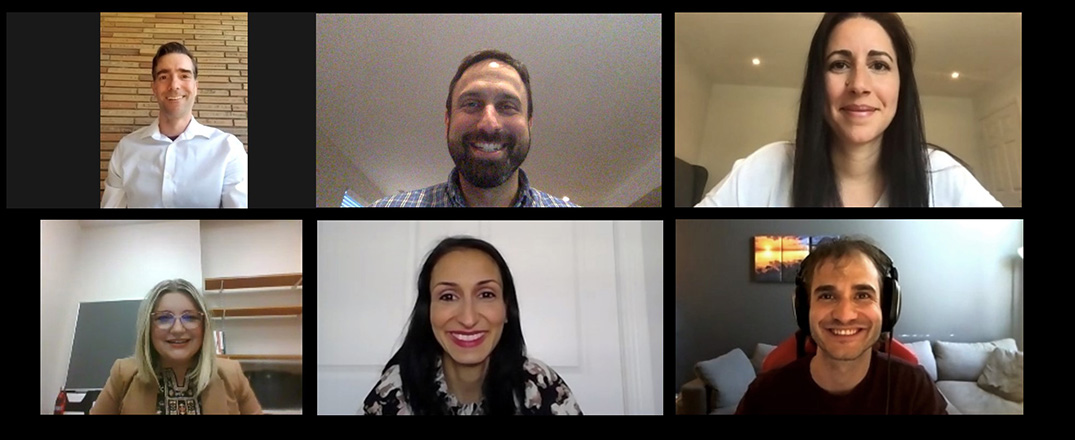 Members of the Digital Health team gather online for a video conference. Top, from left: Michael Shulha, Dr. Justin Cross and Sabine Cohen. Bottom, from left: Danina Kapetanovic, Anna D'Ambra and William Laurin (of the Telehealth Support Centre).
