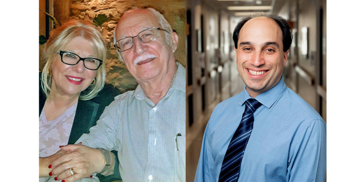 When Antonio José Santiago (left) began exhibiting symptoms of a stroke at home, his wife, Eunice Gomes Santiago, used Zoom to connect to Dr. Mark Karanofsky, who confirmed what was happening and advised them what to do next.