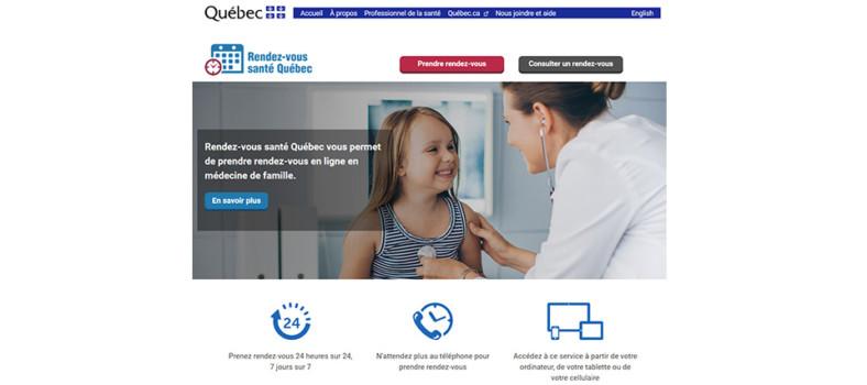 La page d'accueil du site web Rendez-vous santé Québec.
