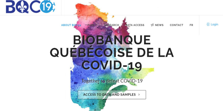 Home page of the website of the Quebec COVID-19 Biobank.