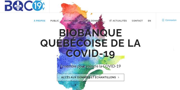Page d'accueil du site Web de la Biobanque du Québec pour la COVID 19.