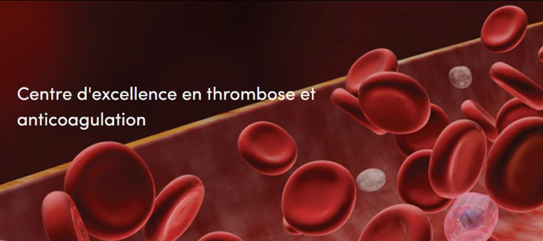 Illustration de la page d'accueil du nouveau site web du Centre d'excellence en thrombose et anticoagulation.
