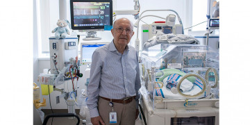 Dr. Apostolos Papageorgiou in the Neonatal Intensive Care Unit of the JGH. (Click on this or any photo to enlarge it.)
